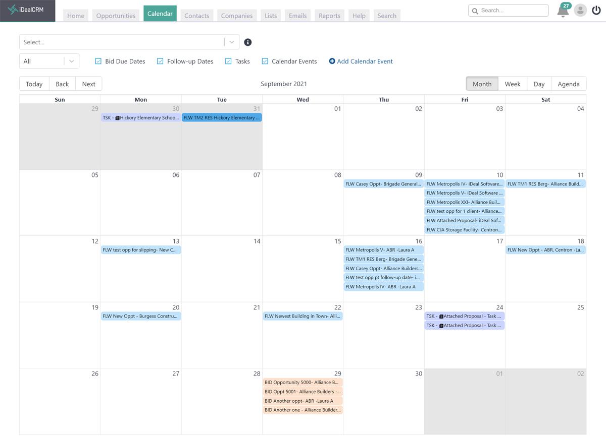 iDeal Construction CRM Bid Calendar